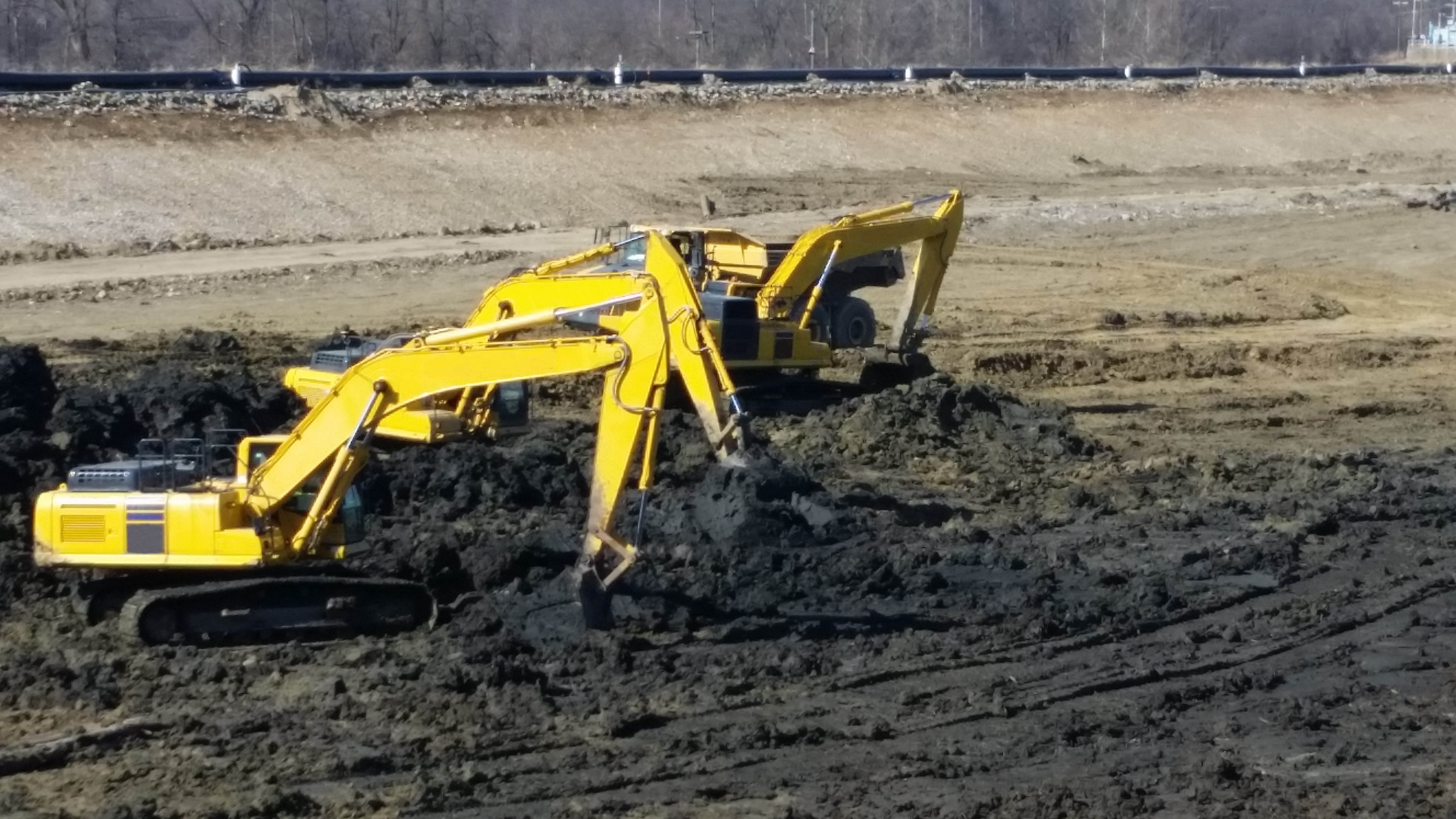 3 Excavators removing CCR